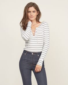Womens Slim Lace-up Tee | A new take on a classic T-shirt, featuring a lace-up neckline, Slim Fit | Abercrombie.com
