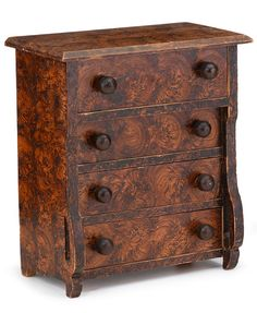 Miniature painted and decorated chest of drawers  circa 1860