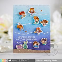 Mama Elephant Stamp Highlight: Little Mermaiden Agenda – Kiwi Koncepts Creative Birthday Cards, Mama Elephant Stamps, Fairy Jars, Elephant Design, Friendship Cards, Shaker Cards, Pretty Cards, Card Maker, Birthday Messages