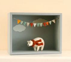 Grey Clouds Shadowbox / Diorama / Woodland Nursery Decor / Nature Decor / Clouds Painting/Felt Flag Bunting