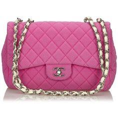 "Pre-owned """"Jumbo Flap Bag"""" (6,590 PEN) ❤ liked on Polyvore featuring bags, handbags, shoulder bags, pink, preowned handbags, chain purse, flap shoulder bag, chain handbags and kiss-lock handbags"