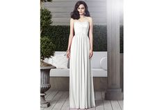 Full-length strapless chiffon dress by Dessy