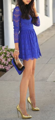 Blue lace and gold shoes
