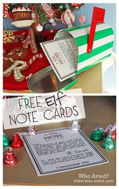 Free Elf on the Shelf Note Cards. These are so cute! A great way for your elf to leave a little note behind each day. Love it!