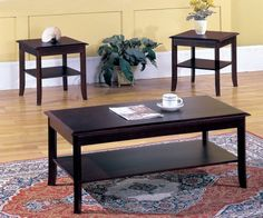 #Kings Brand 3 Pc. Cherry Finish Wood Occasional Table Set Coffee Table & 2 End Tables. Make your living room more inviting with the Kings Brand Table Set. This ...