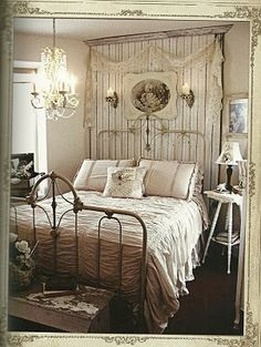 LOVE, LOVE, LOVE this bedspread!  Headboard/cornerboard built in w/ sconces