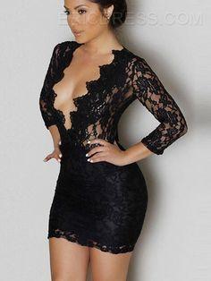 Ericdress Deep V-Neck Lace Sexy & Clubwear Dress Little Black Dresses