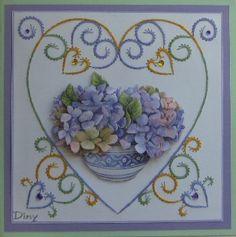 Borduren op papier Paper Embroidery, Iris, Patterns, Embroidery, Cross Stitch, Cards, Block Prints, Pattern, Bearded Iris