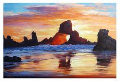 LARGE Beach PAINTING OREGON seascape Original door GerckenGallery