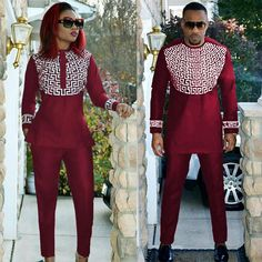 African clothing embroidered dashiki top and pants for couple red blue man and woman outfit