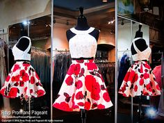 White Floral Print Two-Piece Short Homecoming Dress