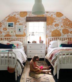 Titian Mural, Burnt Orange Floral Wallpaper for Living Room Walls | anewall