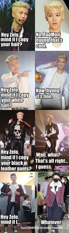 Rap Monster and Zelo XD Because Zelo is the best exemple for guys in all the univers ! Why ? He's a god ;p