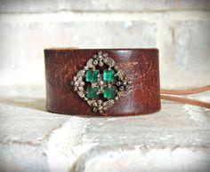 Tooled Leather Cuff Bracelet / Emerald Green / Western Cuff / Antique Brass / Bohemian Cuff / Boho Cuff / Gypsy Cuff / Up Cycled Cuff /Indie