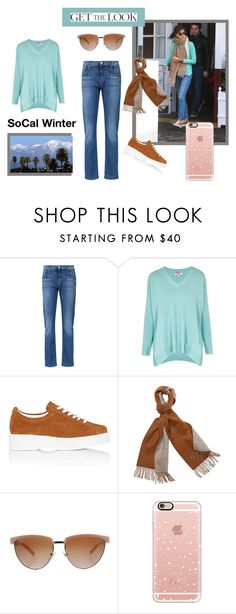 """Alessandra Ambrosia Does SoCal Winter"" by clothingcollector1 ❤ liked on Polyvore featuring 7 For All Mankind, Cocoa Cashmere, Robert Clergerie, Versace, Casetify and GetTheLook"