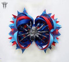 """LG 6"""" Spider-Man Inspired Silver Spider OTT Boutique Bottle Cap Hair Bow #FemmortalFashions"""