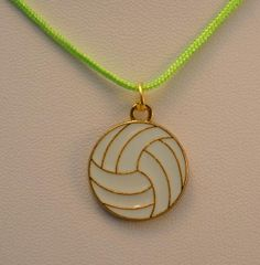 Volleyball necklace with gold plated white enamel volleyball charm on nylon cord Volleyball Jerseys, Volleyball Photos, Volleyball Outfits, Volleyball Players, Beach Volleyball, Volleyball Designs, Volleyball Accessories, Volleyball Necklace, Olympic Badminton