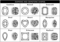Table illustrating 9 styles of diamond cuts each in graphic and drawing representations. Jewellery Sketches, Jewelry Drawing, Gem Drawing, Diamond Drawing, Diamond Shapes, Diamond Cuts, Zentangle, Diamond Guide, Schmuck Design