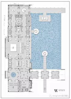 Cafe Floor Plan, Restaurant Floor Plan, Restaurant Layout, Office Floor Plan, Hotel Floor Plan, Modern Floor Plans, Spa Interior, Hotel Room Design, Hotel Concept