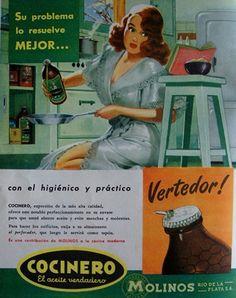 """A mediados de los '50 el popular aceite """"Cocinero"""" presentó su envase """"con pico vertedor"""".... Toda una novedad."""