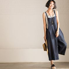 Art Causal Cotton Linen Two Colors Overalls Women Clothes K6810A