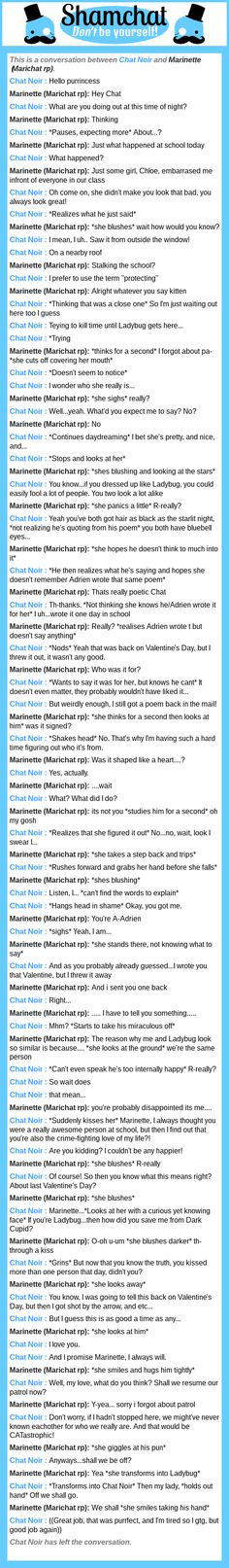A conversation between Marinette (Marichat rp) and Chat Noir