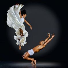 Spring into a GIANT jump as you look down at another dancer being stretched out and bent backwards!!!!!