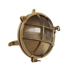 This 1950s inspired ships light adds nautical charm and can be used as a wall or ceiling fitting both indoors or outdoors.  Finish: Antique brass, polished brass, black and white special finishes also available on request for an additional fee e.g. chrome and antique silver IP Rating: IP54 Diameter: 19cm Projection: 10cm Mullan Lighting - bespoke lighting in Ireland. http://www.mullanlighting.com/