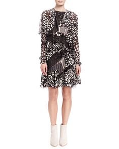 Shadow Spots Tiered Ruffle Dress by Chloe at Neiman Marcus.