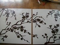 DIY cherry blossom art. Exactly what I've been wanting to do for my living room for art