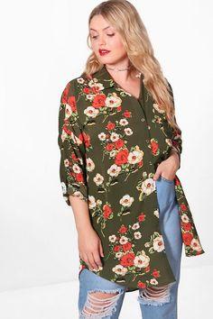 6d62bcd85ea97 Plus Emily Floral Oversize Shirt Boohoo, Floral Tops, Shirts, Shopping,  Oversized Shirt. Boohoo UK