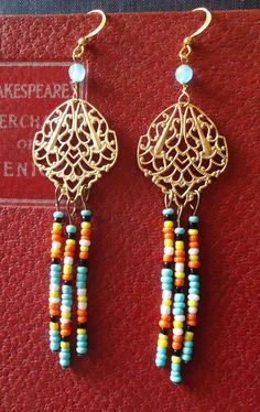 Mystery Earrings Brushed brass gold Filigree and by charm1966, $22.00