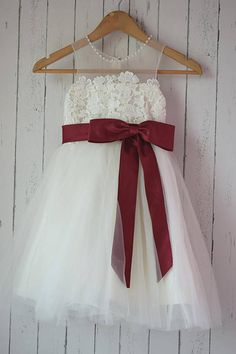 Ivory Lace tulle Flower Girl Dress with satin burgundy sash,This dress is made of high quality lace fabric ;and detachable satin burgundy color bow. The satin bow sash can be added in any color to match your wedding theme, so please message if you would l Lace Wedding Dress, Princess Wedding Dresses, Modest Wedding Dresses, Wedding Gowns, Wedding Flowers, Cinderella Wedding, Wedding Attire, Wedding Colors, Tulle Dress