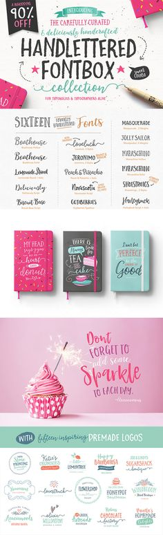 Introducing The Carefully Curated Hand-Lettered Fontbox- with bonuses! ! A fontastic set of carefully-paired, handcrafted fonts, designed to work together in harmony to create awesome hand-lettered typographic designs. As a supersweet bonus you get Twelve Free Premade Logo Templates AND 180 freshly added Illustrations to help you create designs similar to those show in the previews. Grab it and go bananas! Commercial use allowed :)