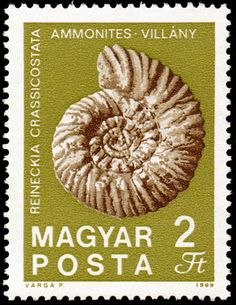 Stamp: Ammonite from Villány (Hungary) (Fossils and Minerals) Mi:HU 2524A,Sn:HU 1994,Yt:HU 2060