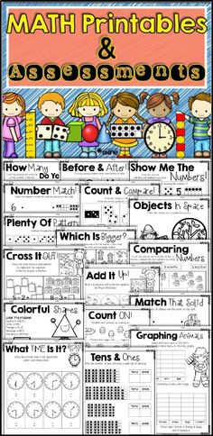MATH Printables & Assessments. These activity pages are perfect for extra practice and/or assessment pages. They are ALL in black & white for easy photocopying. Just PRINT and GO! Click on the picture to see what is inside!