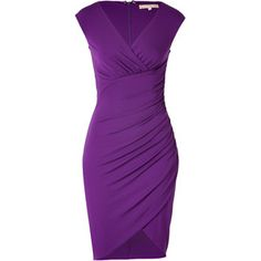MICHAEL KORS Purple Side Gathered Stretch Dress