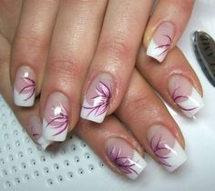 Nageldesign french I would do design only on ring finger Nail Art Designs, Fingernail Designs, French Nail Designs, Nail Polish Designs, Beautiful Nail Designs, Beautiful Nail Art, Acrylic Nail Designs, Pedicure Designs, Gorgeous Nails