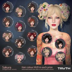 Truth - Sakura Hair- Common Red available, contact Subversive Vavoom