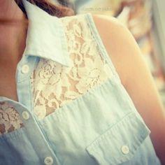 Cute light denim shirt with the lace crochet detailing.