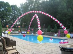 Attach helium filled balloons to fishing line and attach the fishing line to the ends of your pool! #party #decorations #balloons