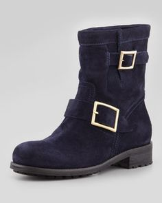 X1QA5 Jimmy Choo Youth Suede Flat Biker Boot, Navy