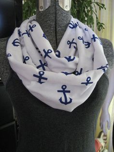 Royal Blue ANCHOR print on White cotton jersey knit INFINITY Infinite Infiniti anchors Scarf by ChevronScarf, $17.00