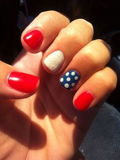 Fourth of July white and blue polkadots and more patriotic nail art when you click!