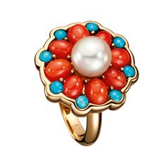 Boucheron pearl, coral, turquoise ring