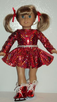 7bfeb3e0bde American Girl Doll Clothes Red Skating Outfit by susiestitchit