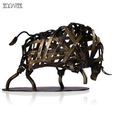 Tooarts Metal Sculpture Iron Braided Cattle Home Furnishing Articles Handmade Crafts escultura Home Art Decoration