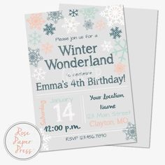 Winter Snowflake Birthday Party Invitation   Personalized Digital Printable File by RosePaperPress on Etsy