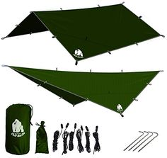 CHILL GORILLA 12' HAMMOCK RAIN FLY TENT TARP Waterproof Camping Shelter. Essential Survival Gear. Stakes Included. Lightweight. Easy to setup. Made from DIAMOND RIPSTOP Nylon. GREEN. For product info go to:  https://all4hiking.com/products/chill-gorilla-12-hammock-rain-fly-tent-tarp-waterproof-camping-shelter-essential-survival-gear-stakes-included-lightweight-easy-to-setup-made-from-diamond-ripstop-nylon-green/