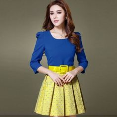 J75031 Europe Fashion Color Matching Pleated Skirt High Quality Dress